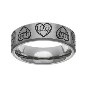 Titanium Laser Engraved Love Hearts 7mm Ring