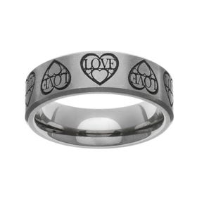 Titanium Laser Engraved Love Hearts 7mm Ring