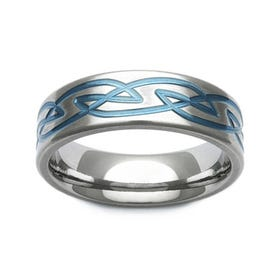 Zirconium Blue Celtic Knot Design 7mm Ring