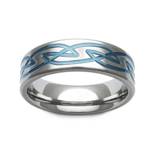 Zirconium Blue Celtic Knot Design 7mm Ring