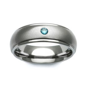 Titanium and Blue Diamond Shoulder Cut 7mm Ring