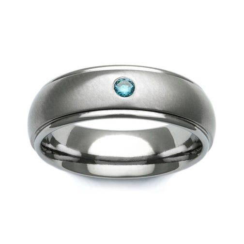 Titanium and Blue Diamond Shoulder Cut 7mm Ring