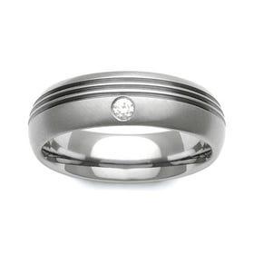 Titanium and Diamond Ring