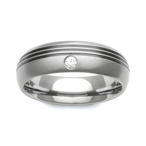 Titanium and Diamond Ring