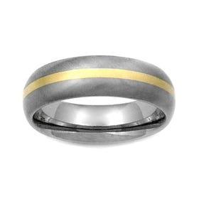Titanium and 18ct Gold Stripe 7mm Ring
