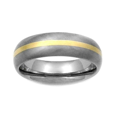 Titanium and 18ct Gold Stripe 7mm Ring