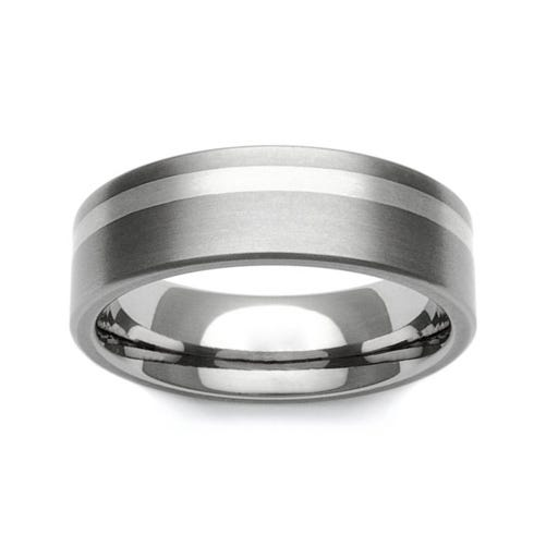 Titanium and 9ct White Gold Off-Centre Stripe 7mm Ring