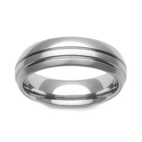 Titanium Domed Double Stripe 7mm Ring