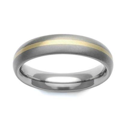 Titanium and 18ct Gold Stripe 5mm Ring