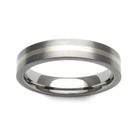 Titanium and 9ct White Gold Stripe 4mm Ring