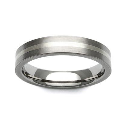 Titanium and 9ct White Gold Stripe 4mm Ring