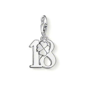 Silver Lucky Number 18 Charm