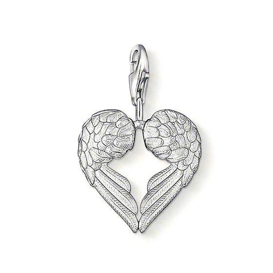 Silver Heart Angel Wings Charm