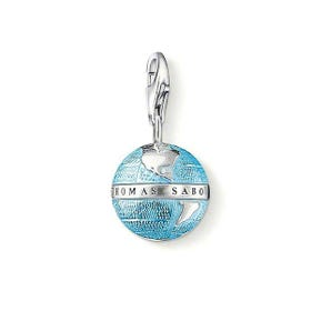 Silver and Blue Enamel Globe Charm