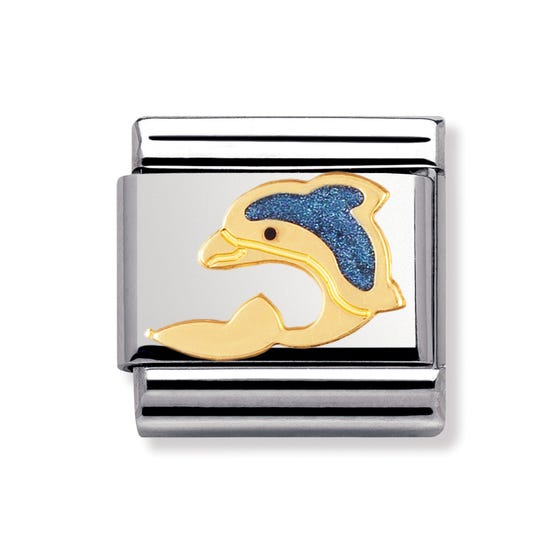 18ct Gold and Enamel Dolphin Classic Charm