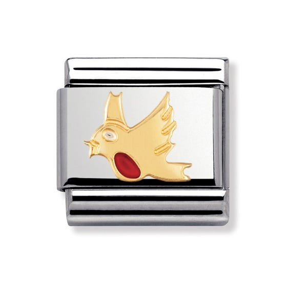 Stainless Steel, 18ct Gold and Enamel Robin Classic Charm