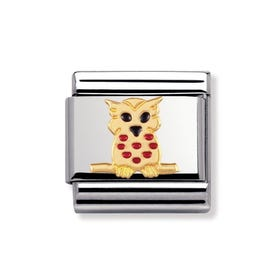 18ct Gold and Enamel Owl Classic Charm