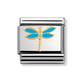 Stainless Steel, 18ct Gold and Enamel Dragonfly Classic Charm