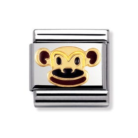 Stainless Steel, 18ct Gold and Enamel Monkey Classic Charm