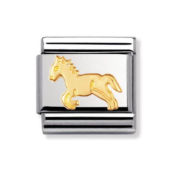 Stainless Steel and 18ct Gold Horse Classic Charm