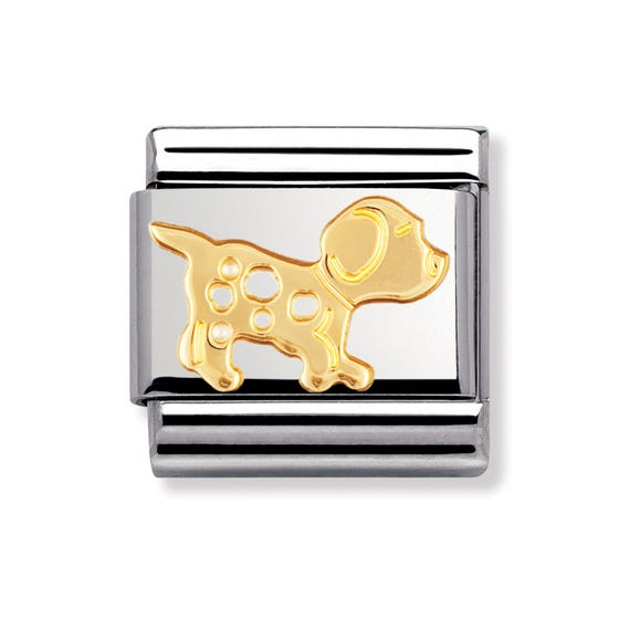 Stainless Steel and 18ct Gold Dog Classic Charm