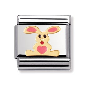18ct Gold and Pink Rabbit Classic Charm