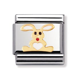 18ct Gold and Enamel White Rabbit Classic Charm