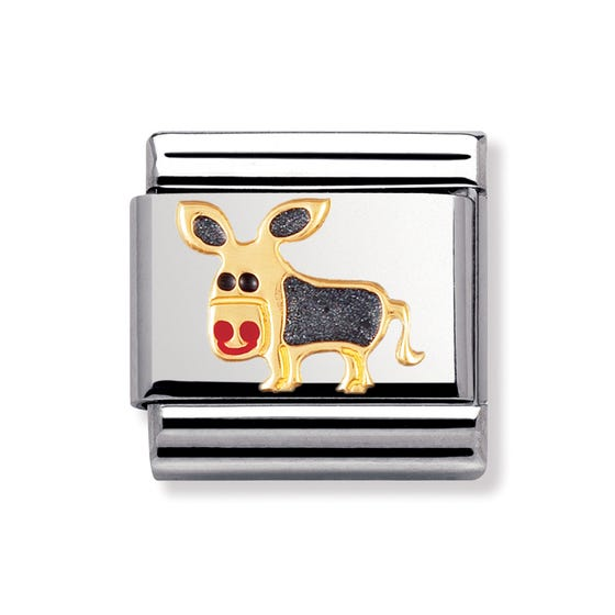 Stainless Steel, 18ct Gold and Enamel Donkey Classic Charm