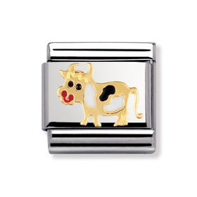 Stainless Steel, 18ct Gold and Enamel Cow Classic Charm