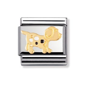 Stainless Steel, 18ct Gold and Enamel Dog Classic Charm