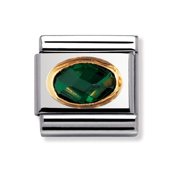 18ct Gold & Emerald Green CZ Classic Charm