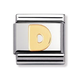 18ct Gold Letter D Classic Charm
