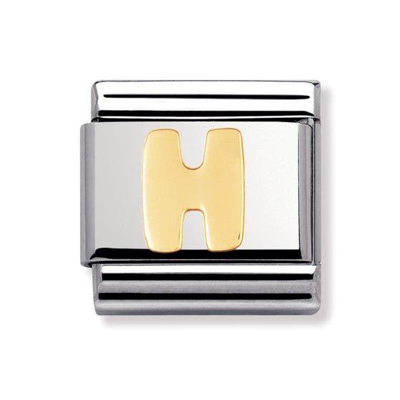 18ct Gold Letter H Classic Charm