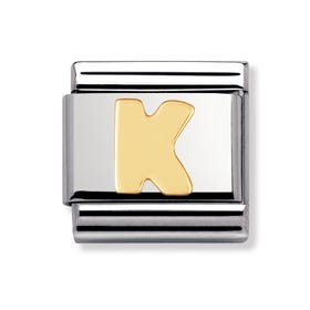 18ct Gold Letter K Classic Charm