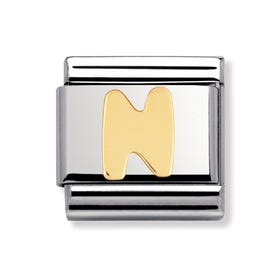 18ct Gold Letter N Classic Charm