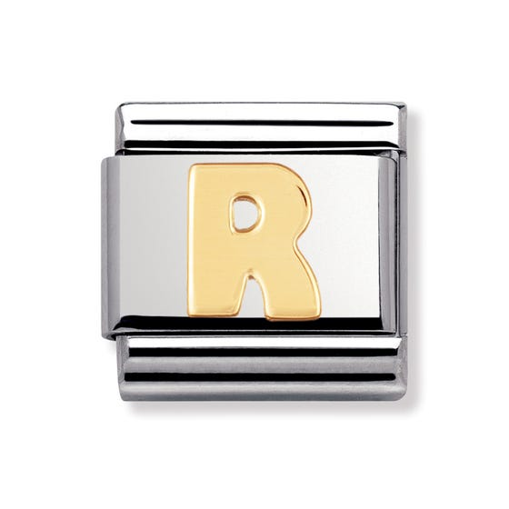 18ct Gold Letter R Classic Charm