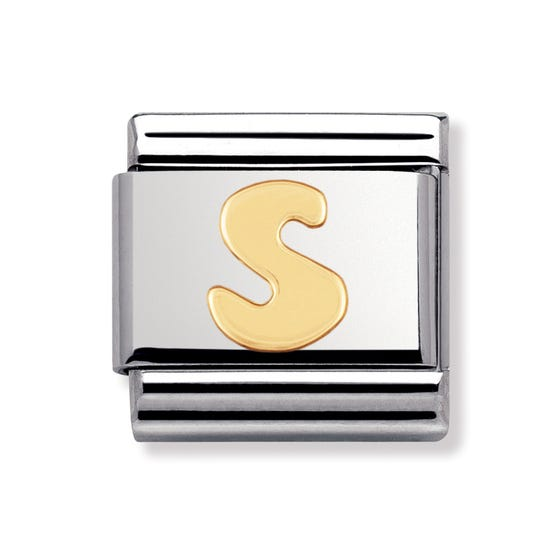 18ct Gold Letter S Classic Charm