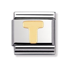 18ct Gold Letter T Classic Charm