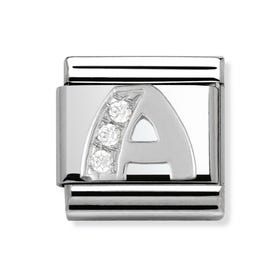 Silver and Cubic Zirconia Letter a Classic Charm