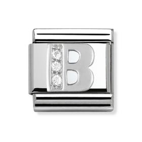 Silver and Cubic Zirconia Letter B Classic Charm