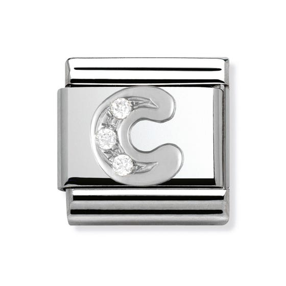 Silver and Cubic Zirconia Letter C Classic Charm