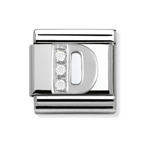 Silver and Cubic Zirconia Letter D Classic Charm