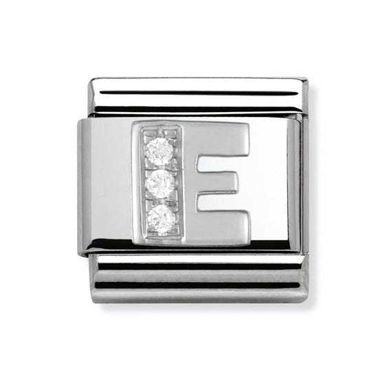 Stainless Steel, Sterling Silver and CZ Letter E Classic Charm