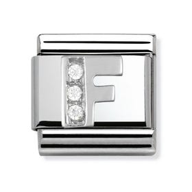 Stainless Steel, Silver and Cubic Zirconia F Classic Charm