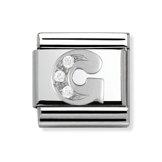 Stainless Steel, Silver and Cubic Zirconia Letter G Classic Charm