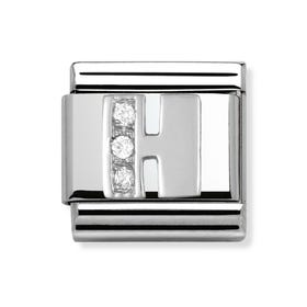 Stainless Steel, Silver and Cubic Zirconia Letter H Classic Charm