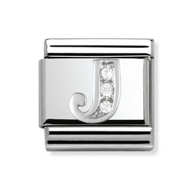 Silver & CZ Letter J Classic Charms