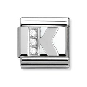 Silver and Cubic Zirconia Letter K Classic Charm