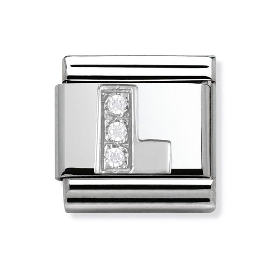 Silver and Cubic Zirconia Letter L Classic Charm