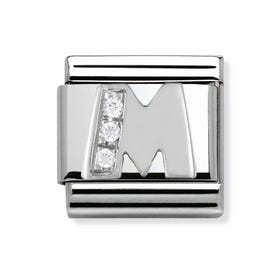 Silver and Cubic Zirconia Letter M Classic Charm